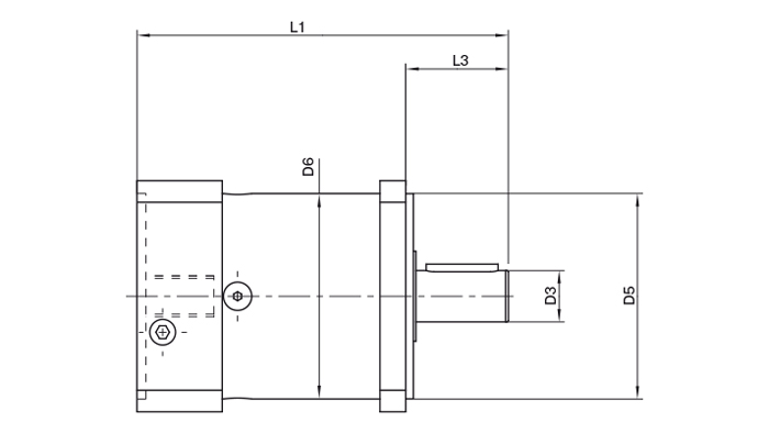Technical drawing of Neugart gearbox PLQE.